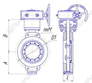 Basic overall and connection dimensions of wafer type butterfly valves PA 900. Image