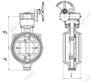 Basic overall and connection dimensions of welded butterfly valves PA 900. Image